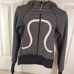 Size 6 Lululemon Zip up Black and White Striped Hoodie